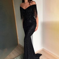 Sexy Off Shoulder V Neck Floor-Length Party Dress Black Sequin Women Mermaid Dresses Elegant Tassel Long Dress