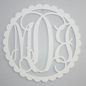 "scalloped border Wooden monogram 24"" painted wooden monogram 1/4"" thick birch ply vine wedding monogram  Large monogram above crib"