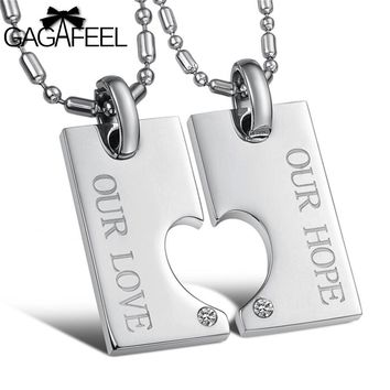 GAGAFEEL Men Women Pendant Necklace Stainless Steel Fine Jewelry For Couples Crystal Natural Stone Love Heart Simple Design N602