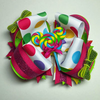 Rainbow Minnie Mouse Boutique Hairbow