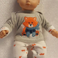 "Baby Doll Clothes to fit 15 inch baby doll BOY ""Foxes Are Snow Fun"" 15 inch playset top socks sock pants orange gray blue G10"