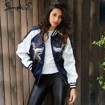 Satin embroidery jacket coat Winter street jacket women Casual basic baseball jackets street wear