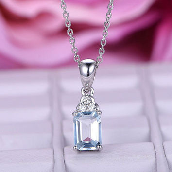 Natural aquamarine necklace in 14k or 18k white gold,unique design,emerald cut,natural gem pendant,Special design,Thanksgiving day present