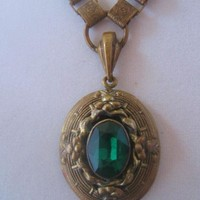 Vintage Victorian Revival Style Green Glass and Brass Pendant Necklace