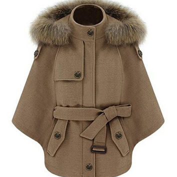 Camel Convertible Faux Fur Hood Belted Cape