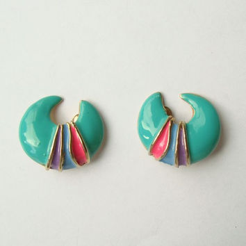 Turquoise Enamel Clip On Earrings Crescent Shaped Purple Pink Colorful Jewelry