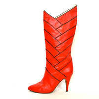 vintage 1980s red + black AVANT GARDE knee high rocker SCULPTURAL high heel boots, size 5 35