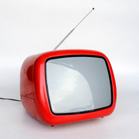 Vintage Portable TV Set From Yugoslavia -  Iskra Minirama - 70's Retro Television Set - Red - Working Condition