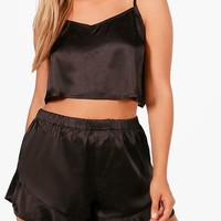 Plus Alice Satin Strap Detail Vest + Short Set | Boohoo