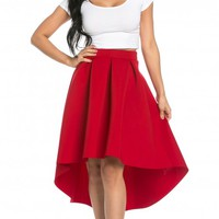 High-Low Pleated Scuba Midi Skirt in Red