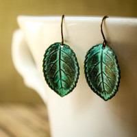 Simple Verdigris Leaf Earrings