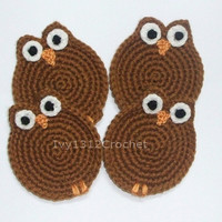 Set of 6 Coffee Owls Crochet Coasters - Finished Handmade Beverage Kitchen Home Decor Housewares Coasters or Potholders