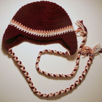 Earflap Hat - Burgandy with Pink and White Stripes - 3-10 Years