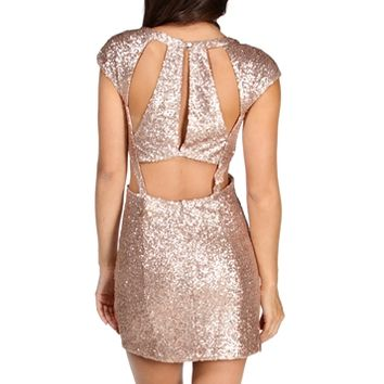 SALE-Rose Gold Cutout Short Sleeve Sequin Dress