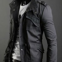 Autumn Style Pockets Decorated Cotton Male Jacket Grey M/L/XL @S5-255-1g $34.45 only in eFexcity.com.