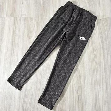 NIKE Men Fashion New Letter Hook Print Leisure Sports Pants Black