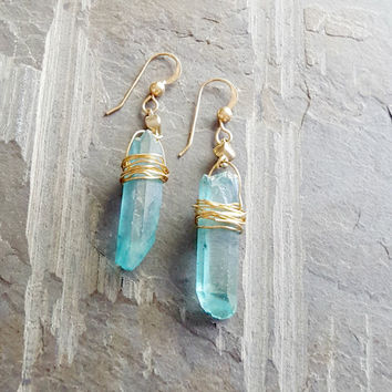 Raw Aqua Crystal Earrings, Quartz Crystal, Light Blue Turquoise Crystal, 14k Gold Filled, Wire Wrapped Crystal, Raw Quartz, Raw Stone