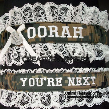 US Marine set with OORAH embroidered on it  in marpat print fabric and throw garter that's says You're next