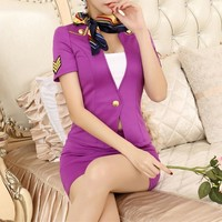 Women Badge Embroidery Short Sleeve Short Small Suit Coat High Waist Short Skirt Set Two-Piece