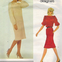 Vogue 2747 Sewing Pattern 80s American Designer Geoffrey Beene New Wave Style Dress Loose Fit Blouson Sleeves Pleated Neckline Bust 32