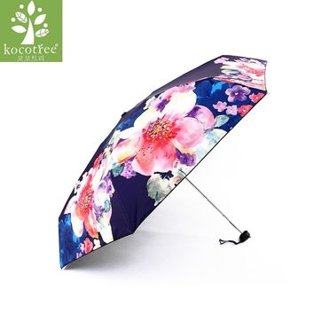 Women Floral Umbrella Folding Waterproof UV Sun Umbrella Art Drawing Flower