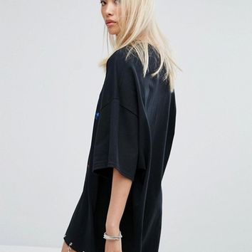 Milk It Vintage Oversized T-Shirt Dress With Zodiac Print And Celestial Tirm at asos.com