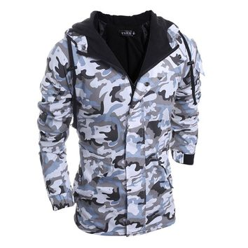 Fashion Winter Jacket Men Warm Outerwear Military Camouflage Hooded Coat Men Thickening Cotton-padded Jackets AQ903509