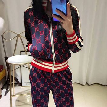GUCCI 2018 new casual hit color striped letters zipper jacket + pants suit F0388-1 navy blue