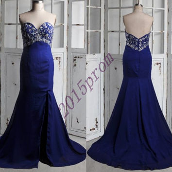 2015 Long Dark Royal Blue Beaded Prom Dresses,Sweetheart Mermaid Formal Evening Dresses,Homecoming Dresses