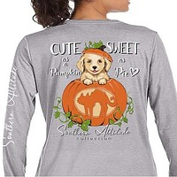 Southern Attitude Preppy Pumpkin Puppy Fall Grey Long Sleeve T-Shirt