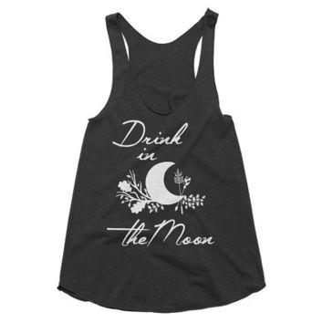 Drink in the moon Boho, gypsy, hippie, hippy, festival, music racerback tank, Yoga Shirt, Gym Shirt, Muscle, Gym Tank, Yoga Top
