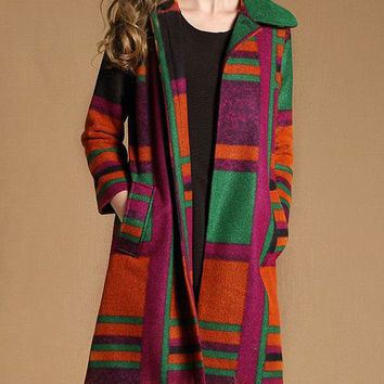 Multicolor Plaid Lapel Straight Type Thick Woolen Coat