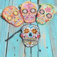 embroidered sugar skull coin purse | Elusive Cowgirl