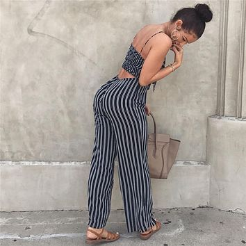 Sexy Bow Strap Striped Jumpsuit Wide Legs Summer Sleeveless Backless Off Shoulder High Split Rompers Women's Jumpsuits