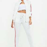 Missguided - White Double Striped Joggers