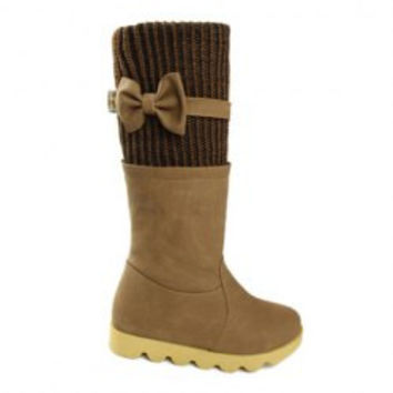 Sweet Women's Sweater Boots With Color Block and Bow Design