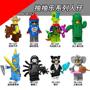 For legoing 18 Series Collectable Costume Cowboy Fireworks Boy Circus Clown Figures Building Blocks Toys Bricks For Children Kit