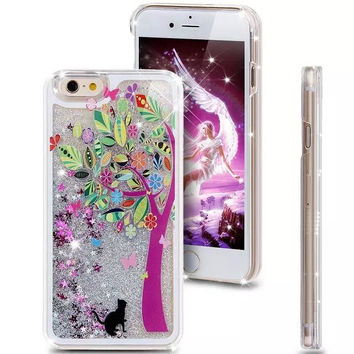 Liquid Glitter Phone Case for Iphone 5 5S (Black Kitty)