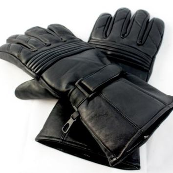 Gauntlet style Genuine leather motorcycle gloves Black size xl