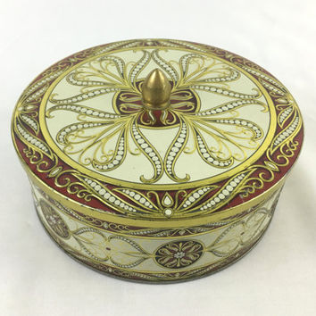 Round Art Deco Decorative Storage Tin in Burgundy Red and Gold Ornate Embossed Design Round Metal Craft Storage Romantic Boudoir Storage Tin