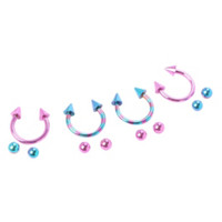 Steel Blue And Pink Striped Circular Barbell 4 Pack