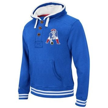 Mitchell & Ness New England Patriots Vintage Primary Logo Pullover Hoodie Sweatshirt - Royal Blue