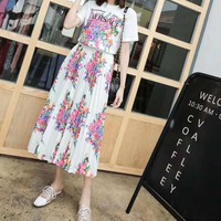 """Versace""Woman's Leisure  Fashion Letter Flower Printing  Short Sleeve  Long Skirt Two-Piece Set Casual Wear"