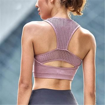 Net Mesh Breathable Padded Sports Bra