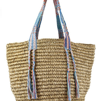 Luxury Straw Tote- Mediterranean Multi