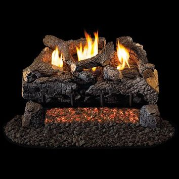 "Peterson Real Fyre Vent Free G18 Burner with 24"" Charred Evening Fyre Log Set"