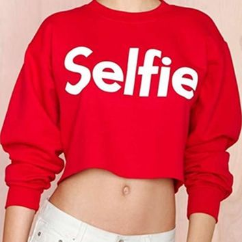 Red Print Monogram Crop Round Neck Long Sleeve Fashion Pullover Sweatshirt
