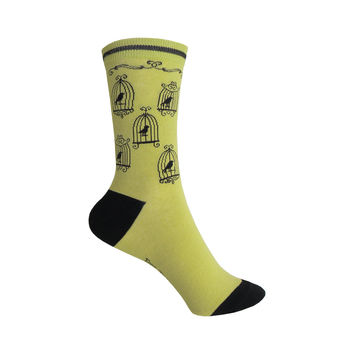 Vintage Birdcages Crew Socks in Green and Black