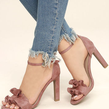 Idola Mauve Suede Ankle Strap Heels