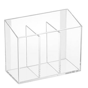 InterDesign AFFIXX Peel and Stick Adhesive Vanity Cosmetic Organizer, Damage-Free Storage for Hair Care, Jewelry, Bath, Q-Tip Holder, Makeup Organization - 3 Compartment, Clear